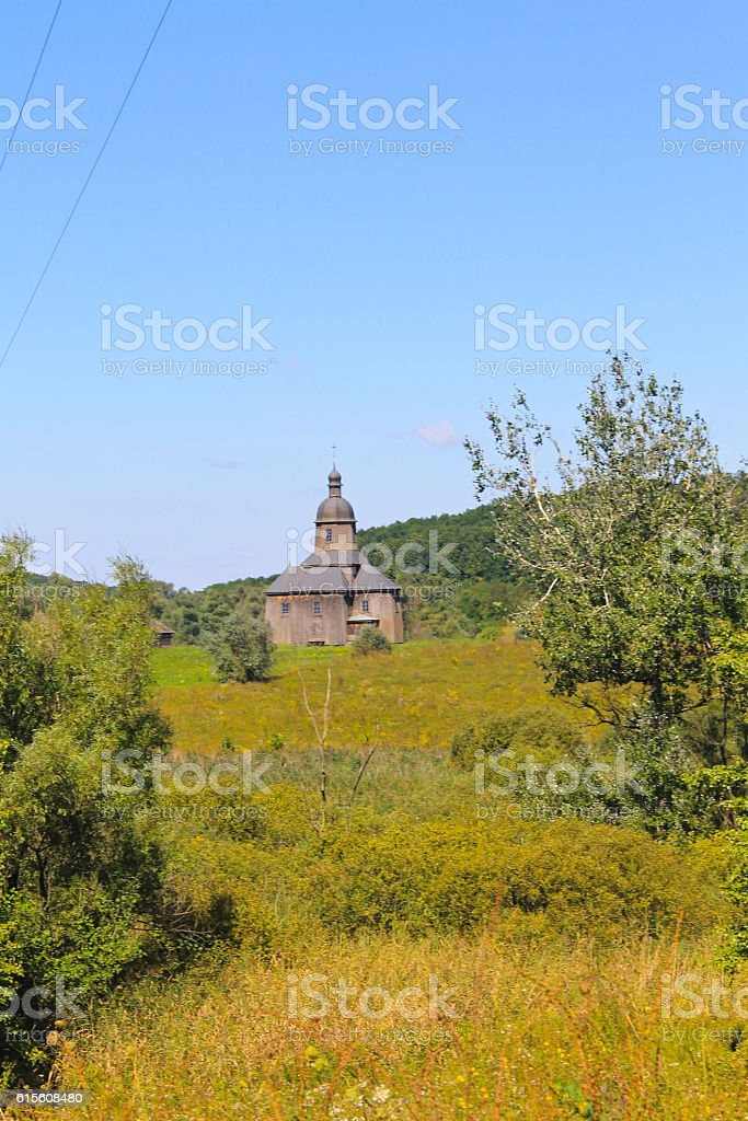 Old ukrainian wooden church stock photo
