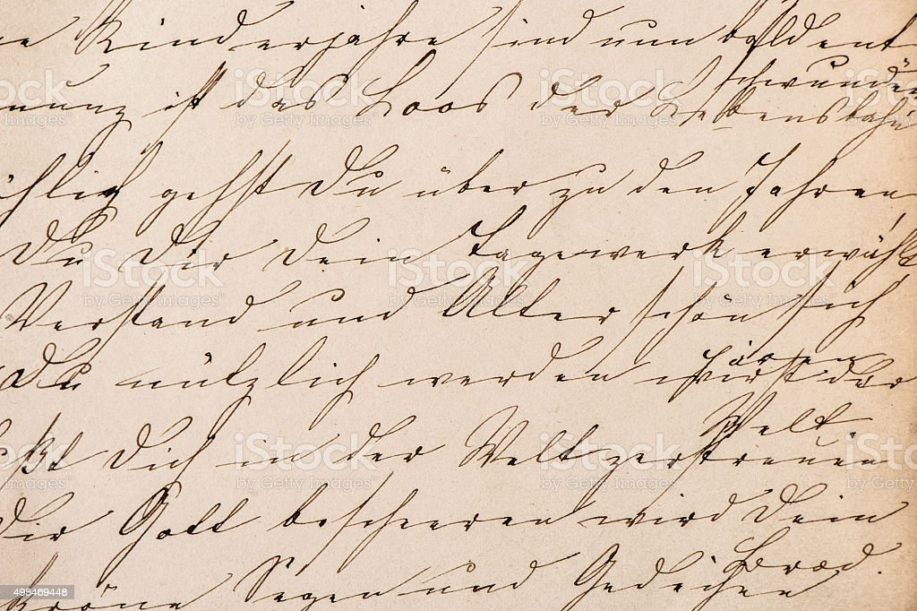 Old undefined abstract handwritten text. Paper texture background stock photo