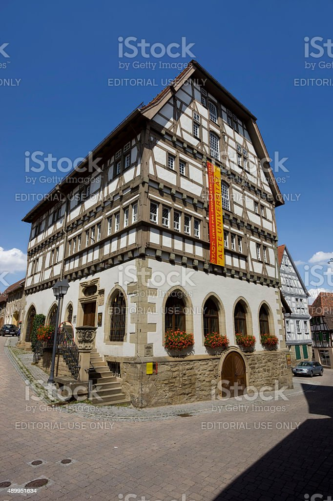 Old university half-timbered from 1495 in Eppingen Germany stock photo