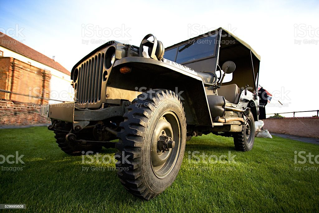 Old us army jeep widescreen stock photo