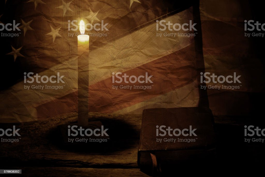 Old US flag and book. stock photo