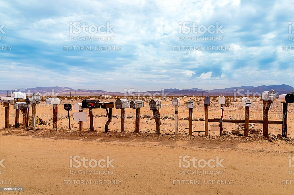 Old US Mailboxes along Route 66 stock photo