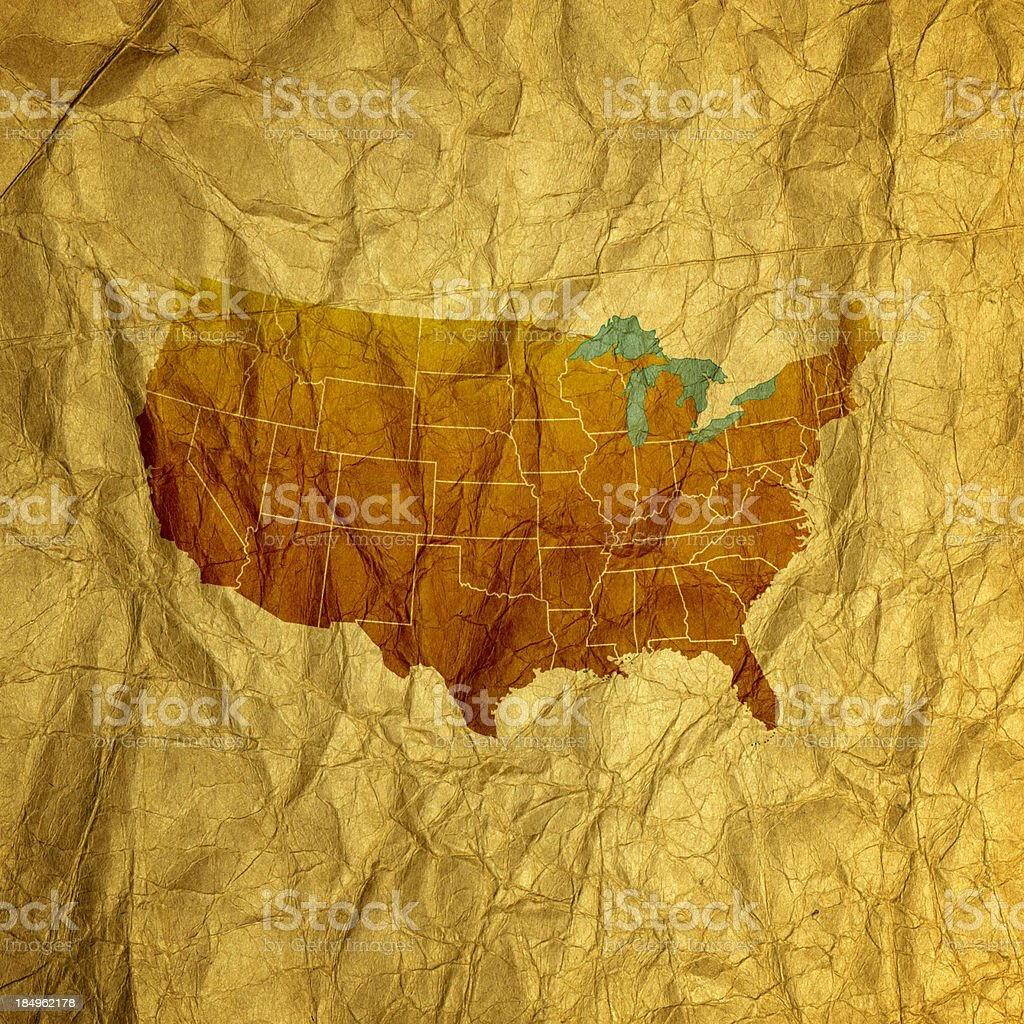 Old U.S. Map stock photo