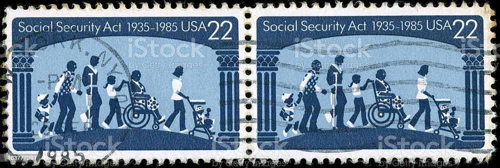 Old US stamps stock photo