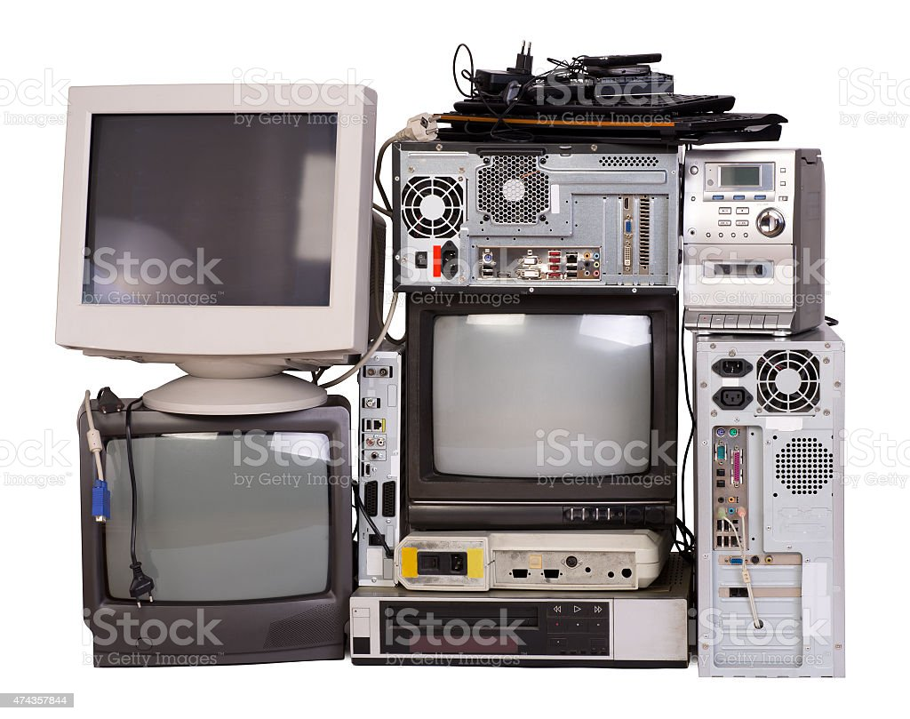 Old, used and obsolete electronic equipment stock photo