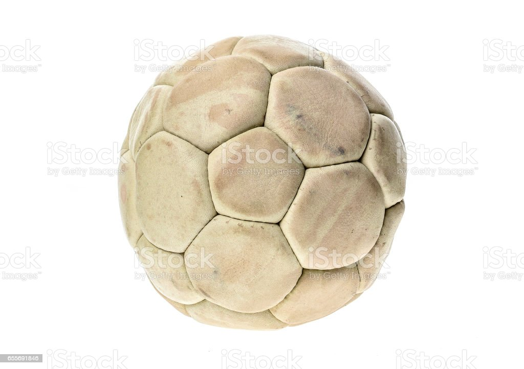 Old, used and washed handball ball isolated on white. stock photo