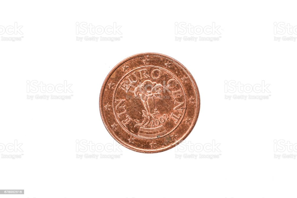 Old used and worn out 1 cent coin. stock photo