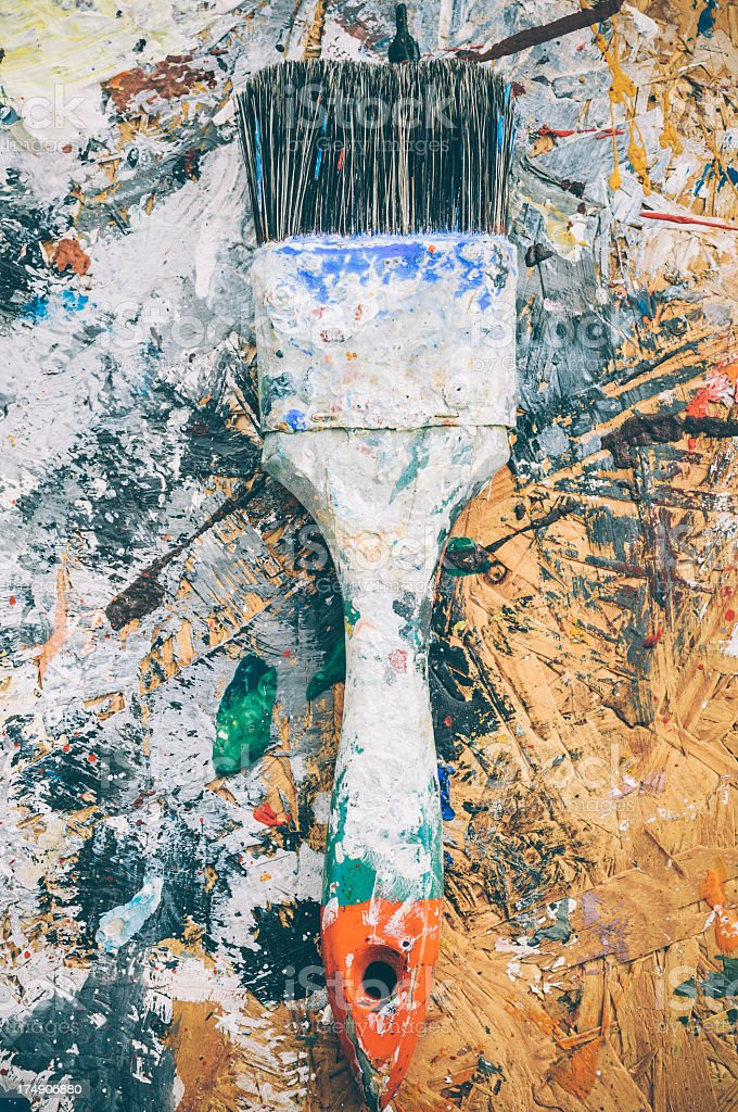 Old used brush on a colored background royalty-free stock photo