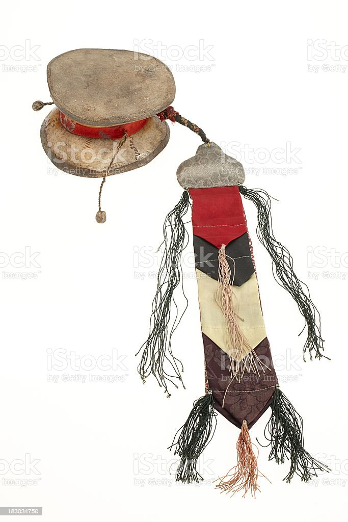 Old used buddhistic shaman drum with decoration stock photo
