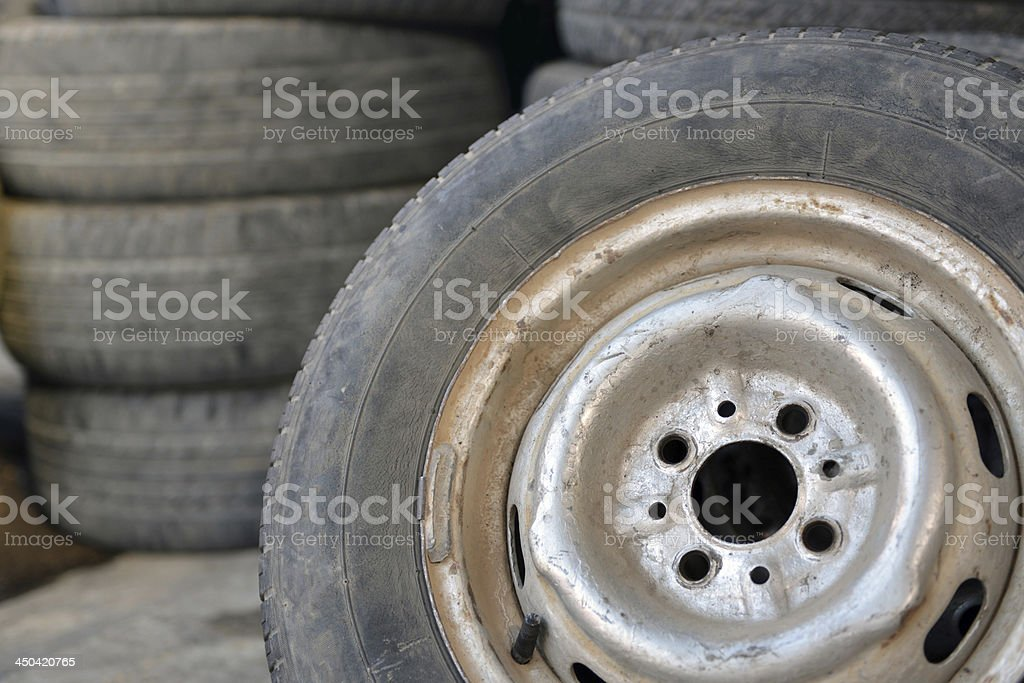 old used car tires stock photo