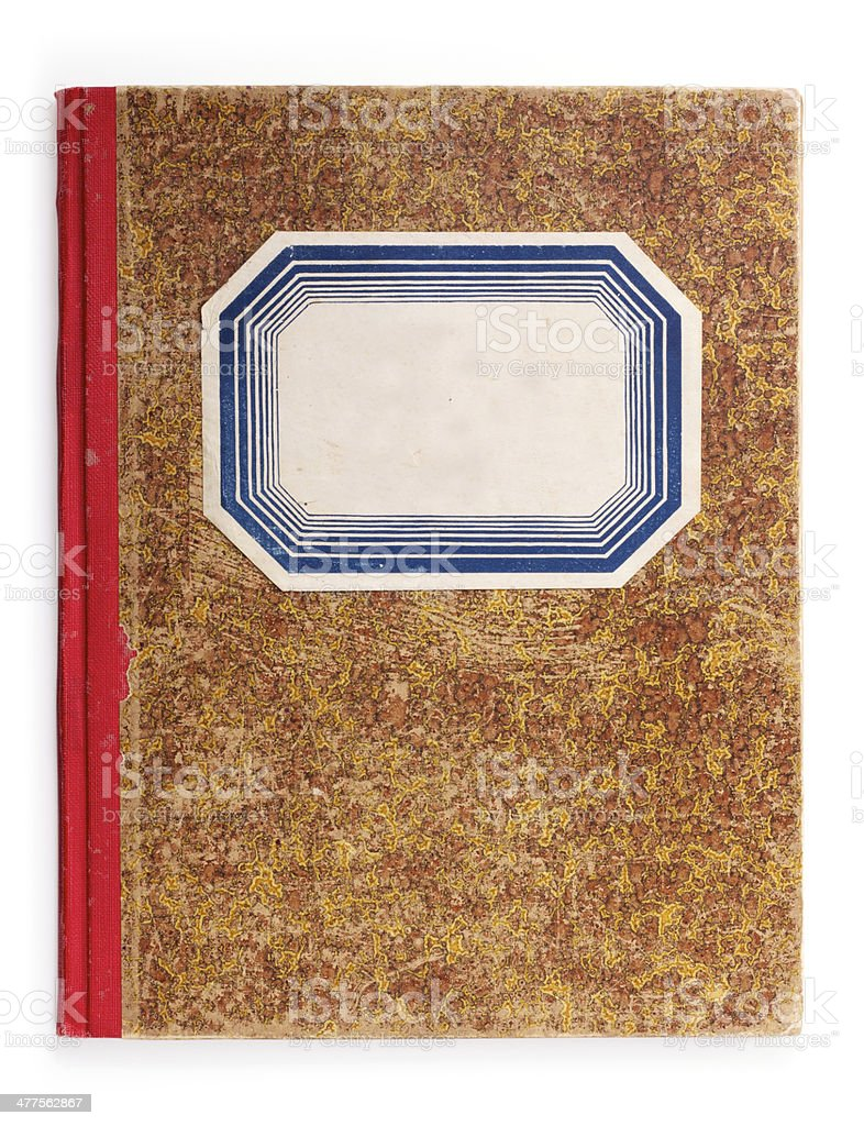 Old Used Exercise Book with clipping path stock photo