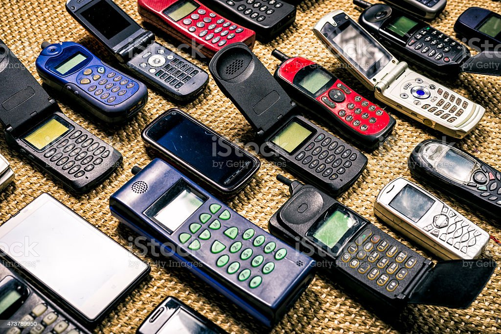 old used mobile phones stock photo