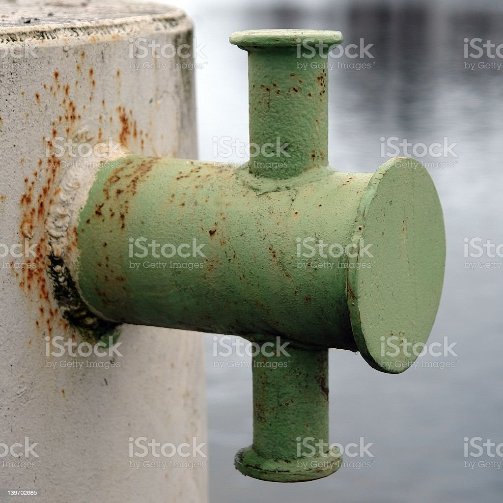 old used moorings at havel harbour in berlin stock photo