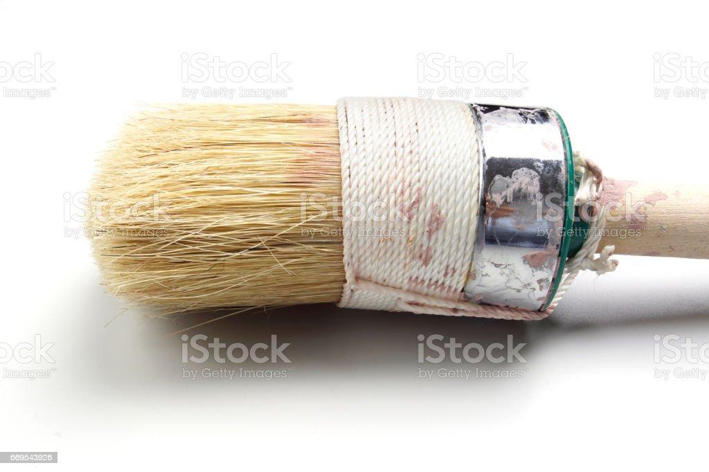 Old used Paint Brush on White Background Detail stock photo