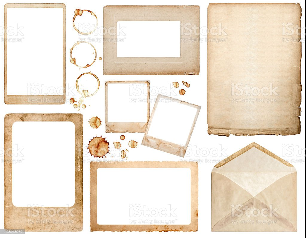 Scrapbook paper envelope - Old Used Paper Envelope Photo Frames And Coffee Stains Scrapbook Royalty Free Stock