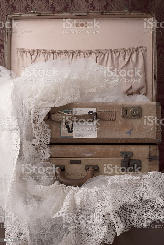 Old Used Suitcase With Travel Stickers royalty-free stock photo