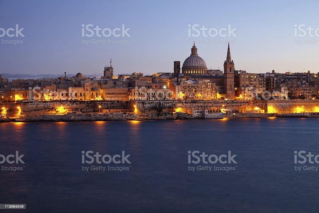 Old Valletta in dusk stock photo