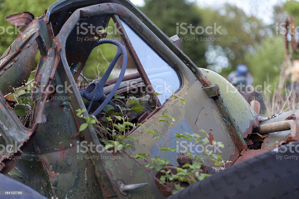 old van in scrapyard royalty-free stock photo