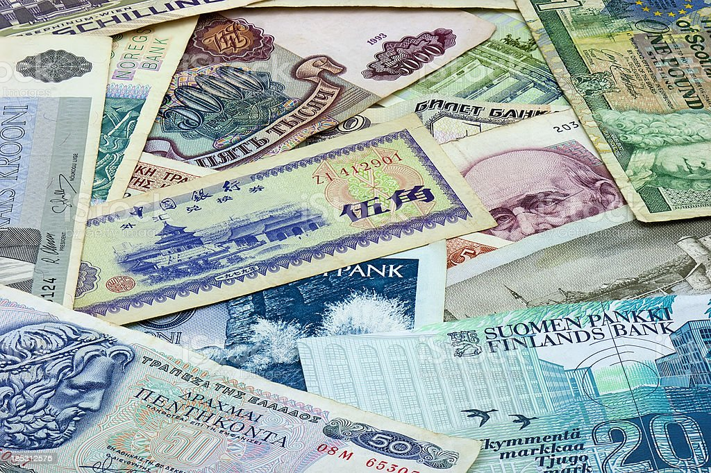 Old various bank notes royalty-free stock photo