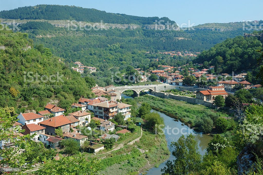 Old Veliko Tarnovo panorama from Tsarevets hill ,Bulgaria. royalty-free stock photo