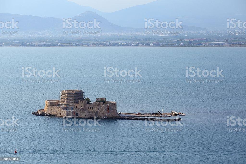 Old Venetian fortress, Bourtzi, in Argolis bay, Nafplio, Greece stock photo