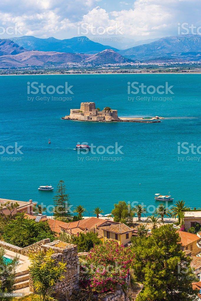 Old Venetian fortress Bourtzi in Nafplio, Greece stock photo
