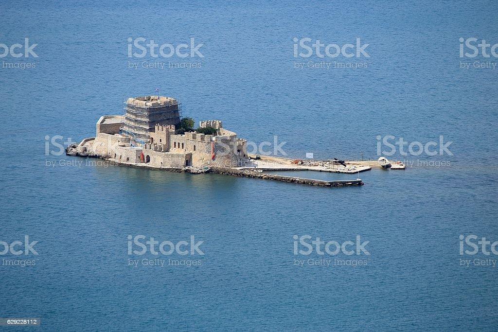 Old Venetian fortress Bourtzi, Nafplio, Greece stock photo