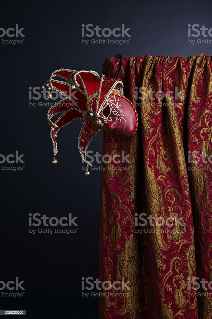 Old Venetian masks with bell stock photo