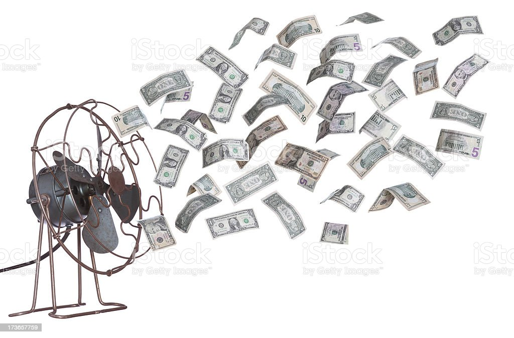 old ventilator and dollar banknotes stock photo