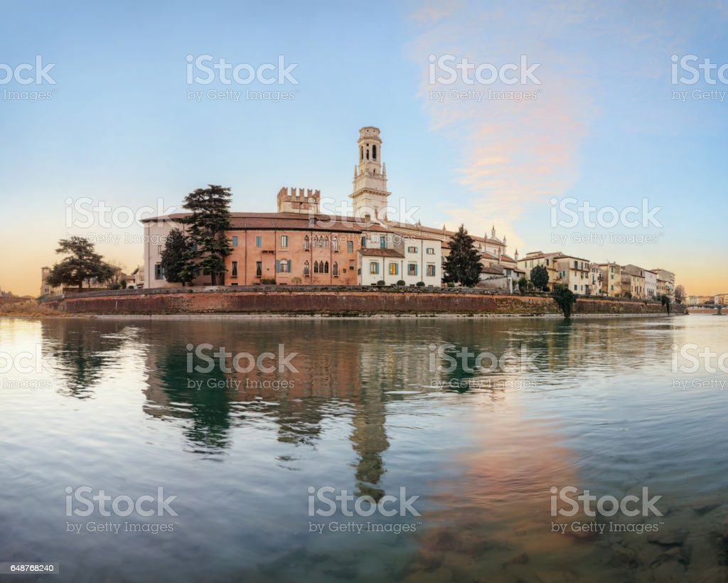 Old Verona town, view on river stock photo