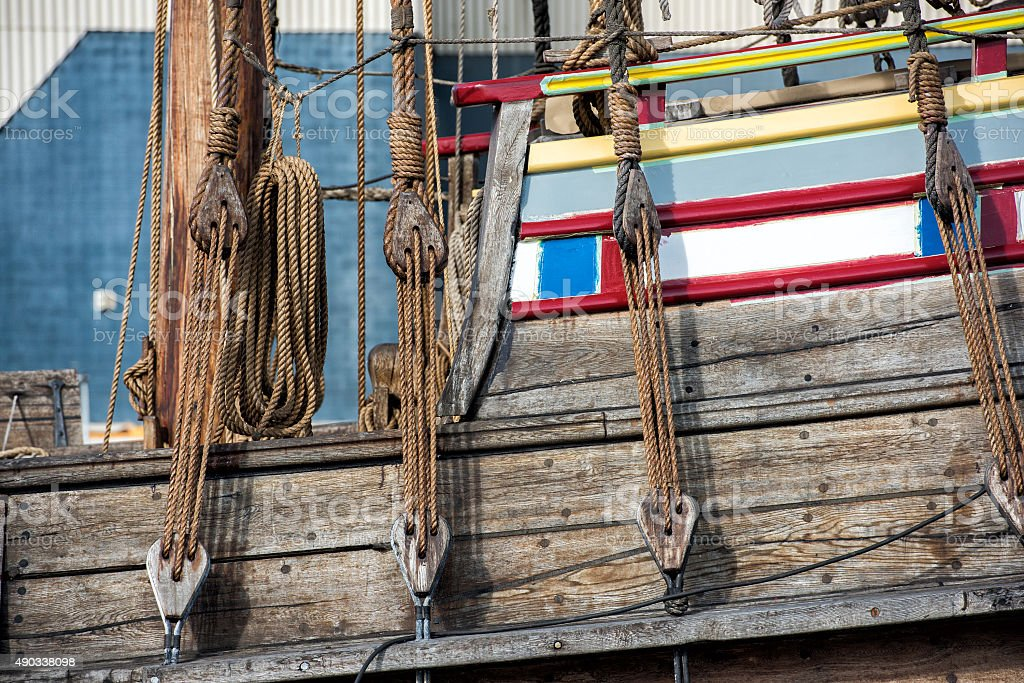 Old vessel sail ship detail stock photo
