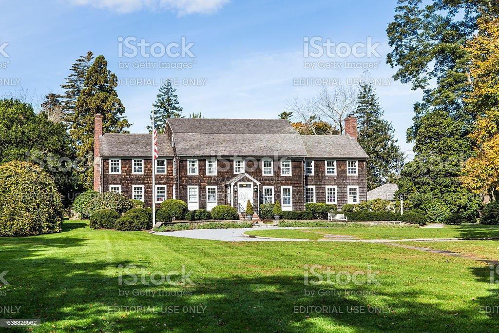old victorian buildings in a green garden in East Hampton stock photo