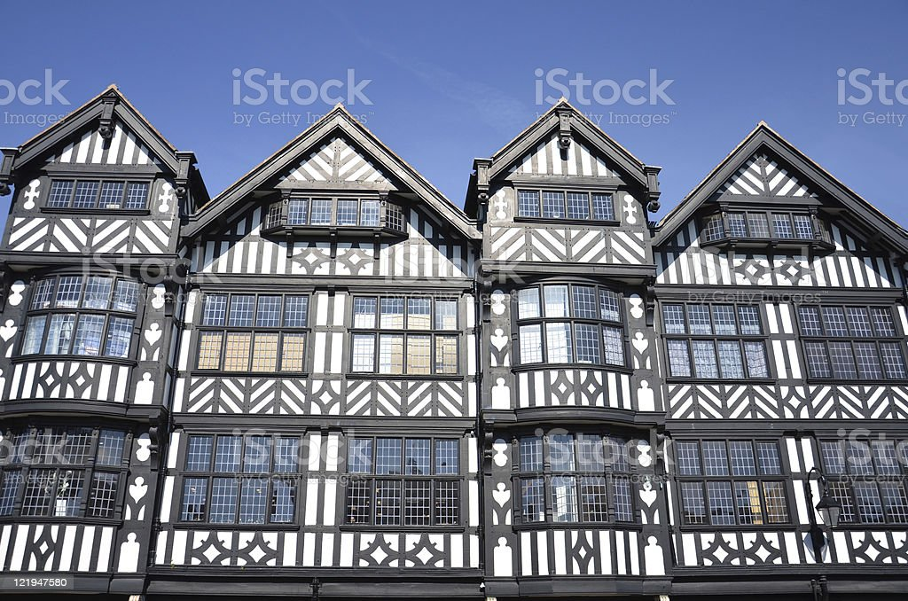 Old Victorian Buildings in Roman City of Chester royalty-free stock photo