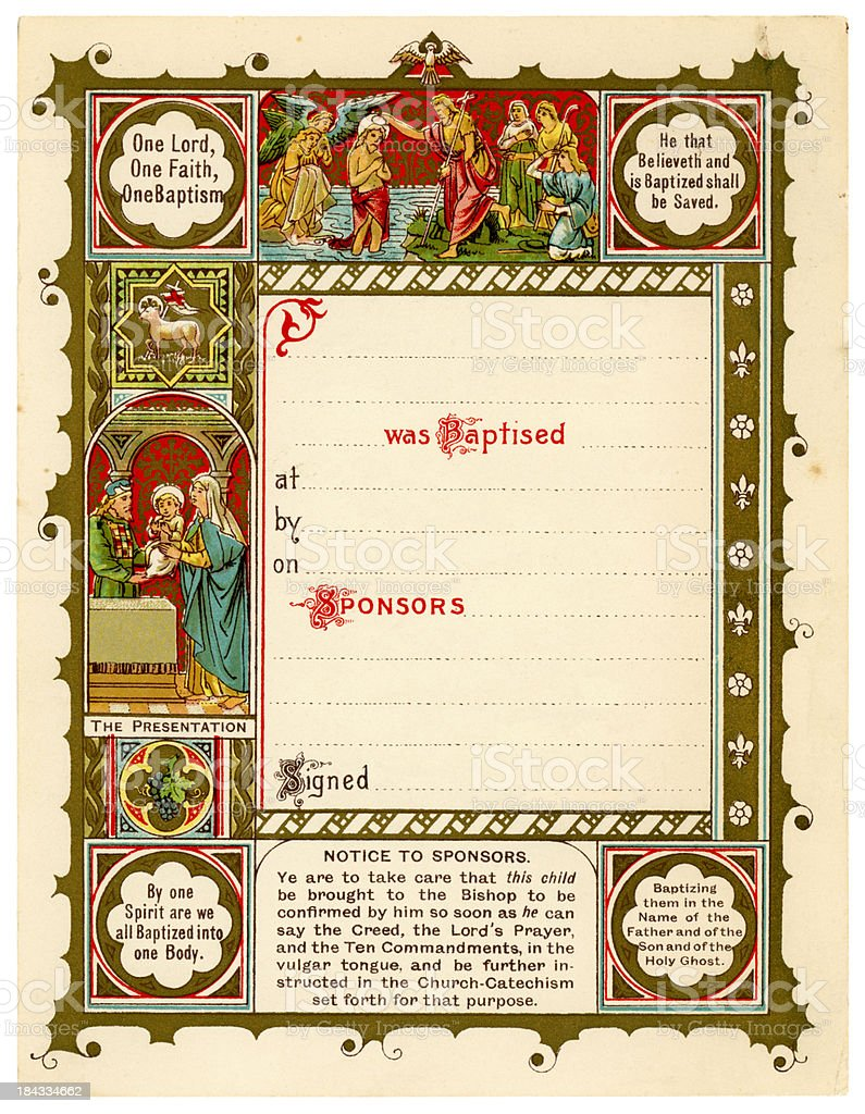 Old Victorian Christian baptismal certificate stock photo