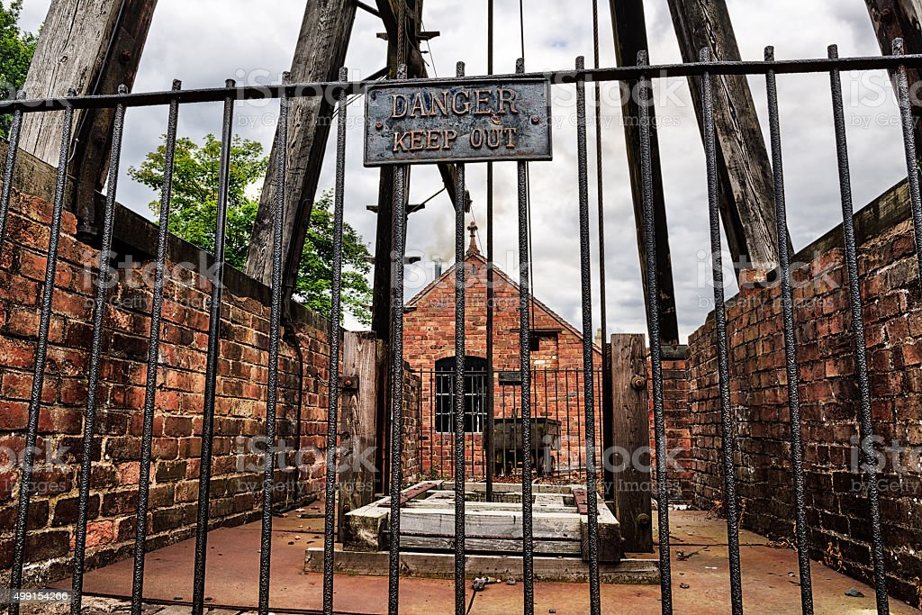 Old Victorian era mine entrance stock photo