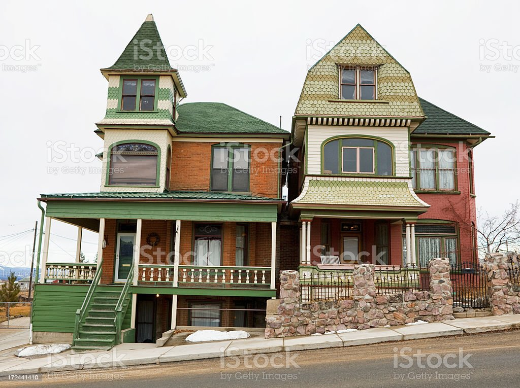 Old Victorian Homes - Butte, Montana royalty-free stock photo