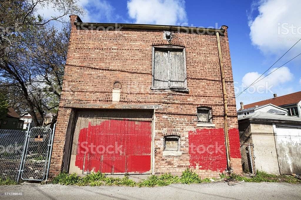 Old Victorian Stable Building in East Side, Chicago stock photo