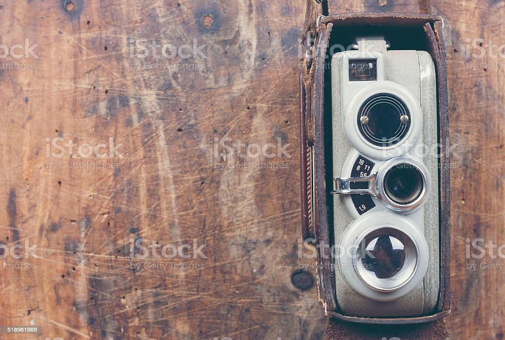 Old video camera stock photo