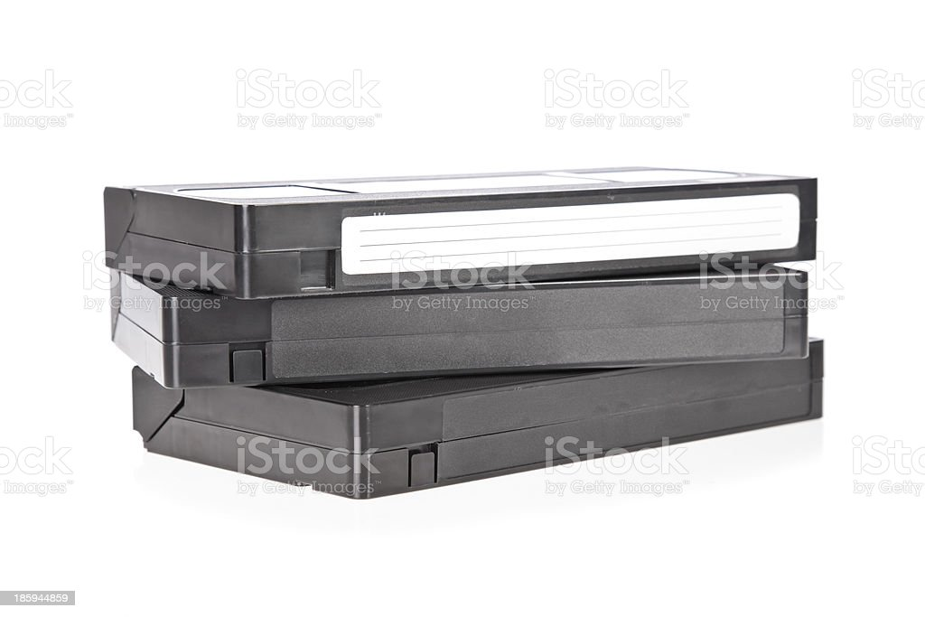 Old Video Cassette tape isolated on white background stock photo