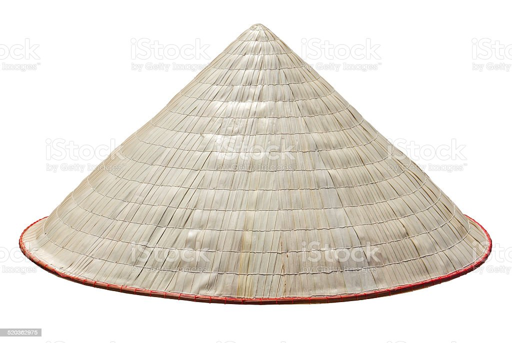 Old Vietnam straw hat stock photo