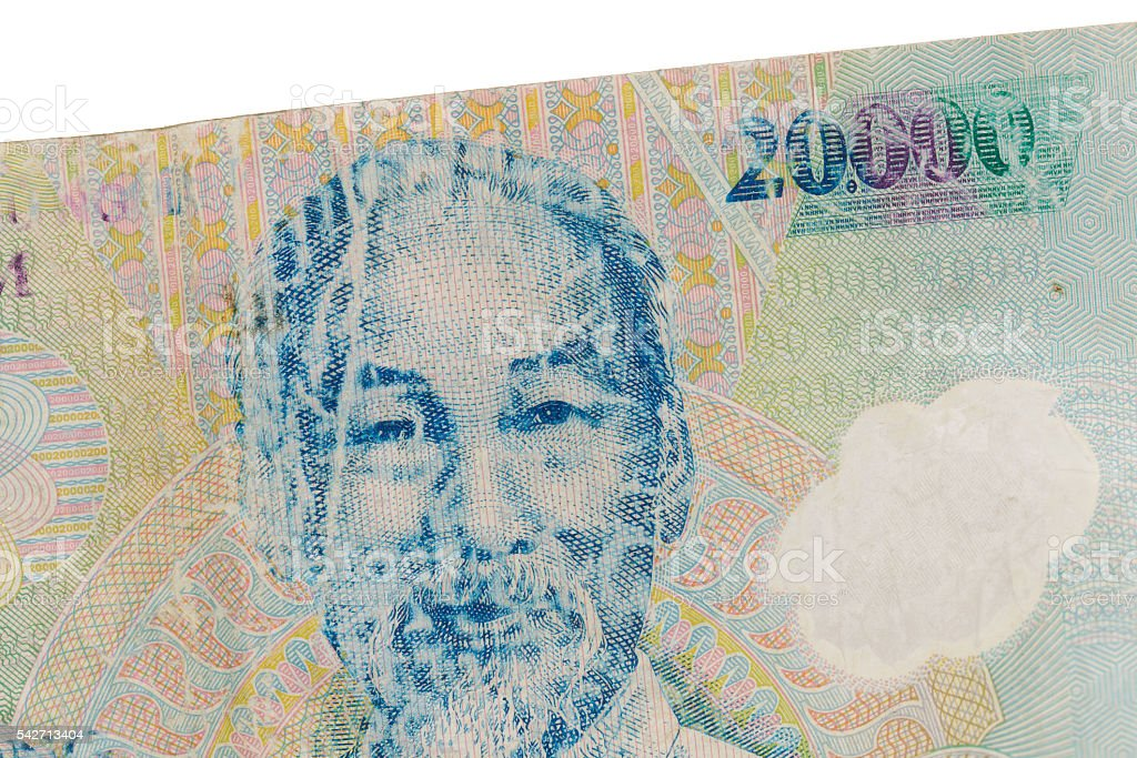 Old Vietnamese Dong, Vietnamese currency stock photo