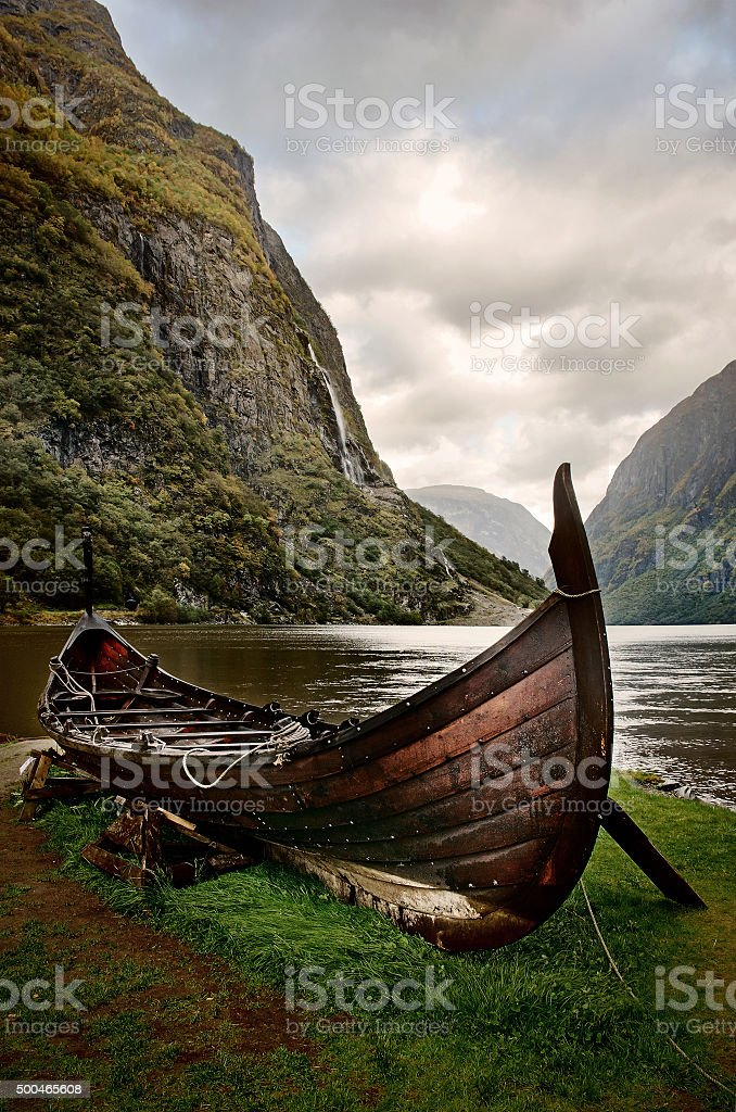 Old viking boat in Sognefjord, Norway stock photo