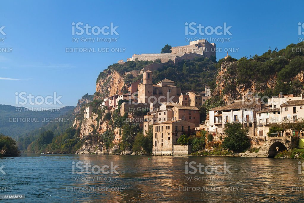 Old village and castle of Miravet stock photo