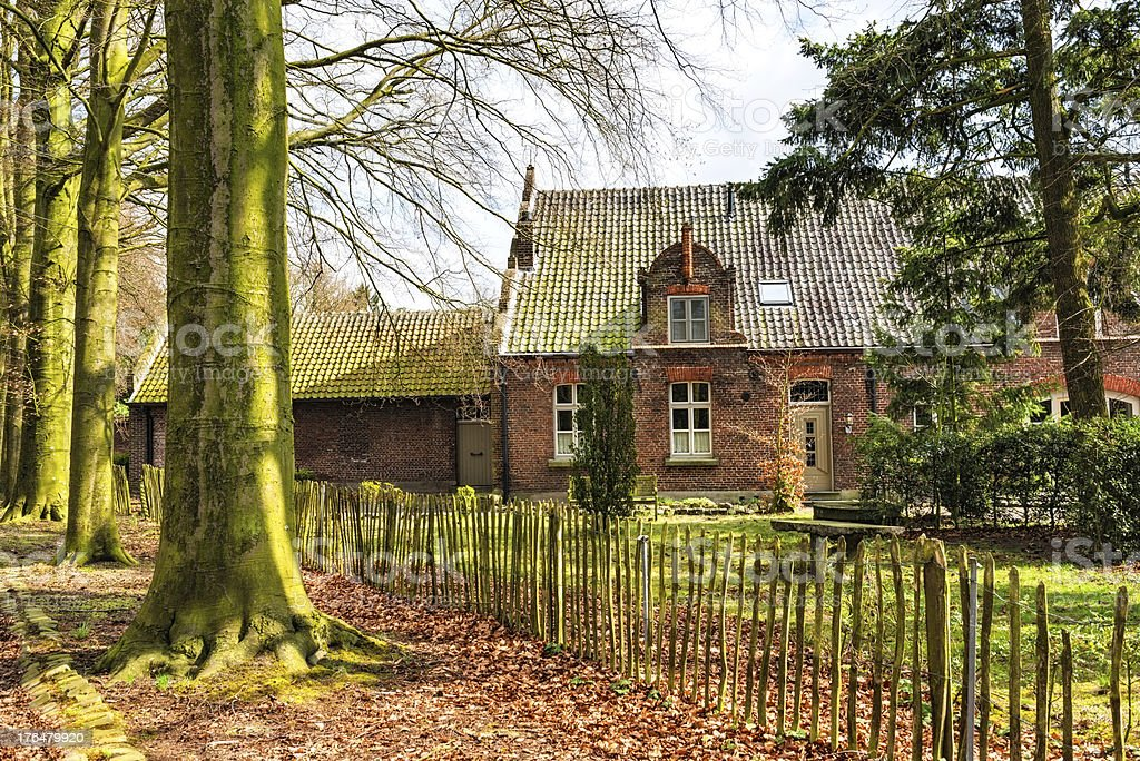 Old Village Cottage House Covered with Green Colors stock photo