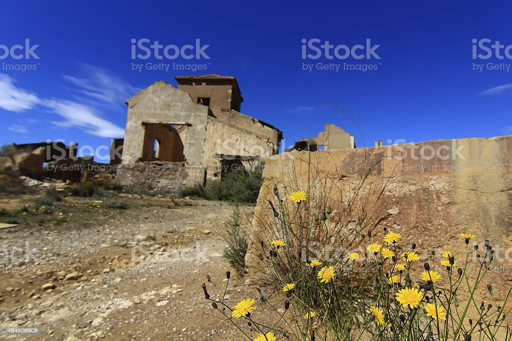 old village destroyed ruins and abandoned the bombs of war royalty-free stock photo