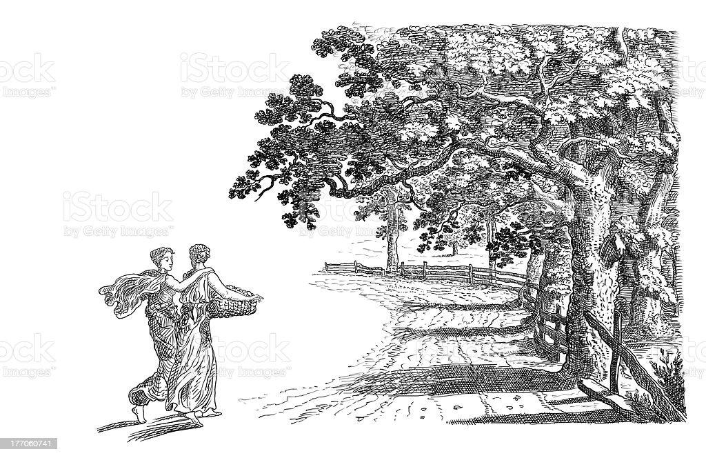 Old village illustration stock photo