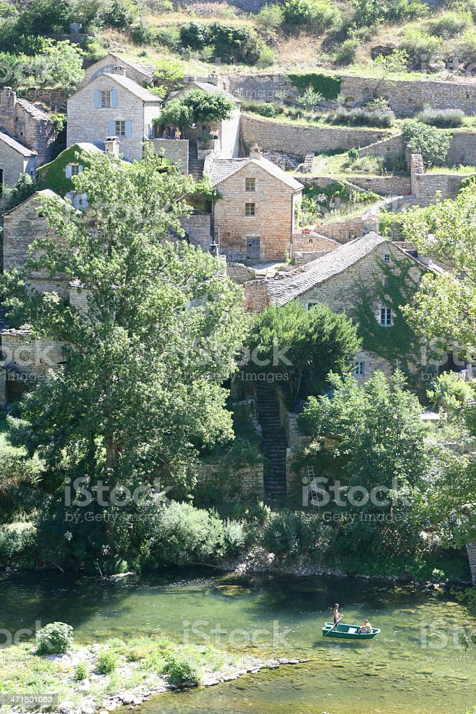 Old village in Gorges du Tarn, Lozere, France royalty-free stock photo