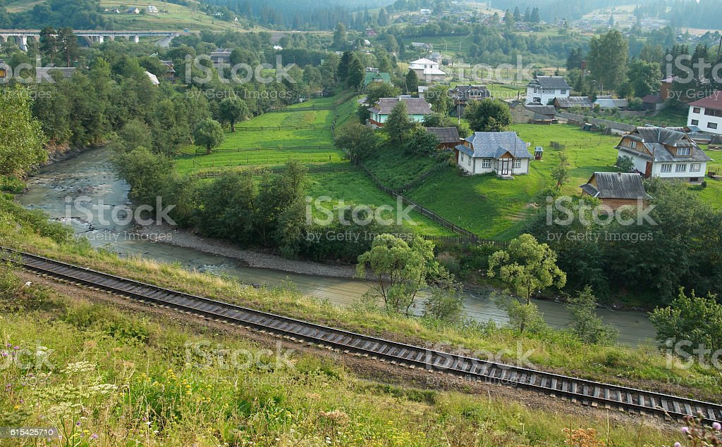 Old village in mountains stock photo
