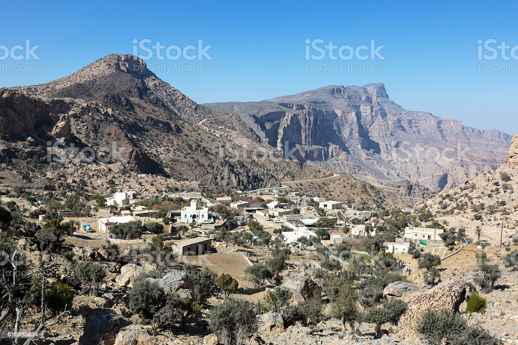 Old Village in the mountains of Oman, jebel shams stock photo
