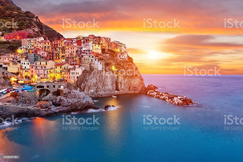 Old village Manarola, coast of Italy stock photo